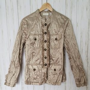 Chico's metallic crushed satiny military jacket 2